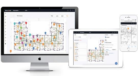Die Software docu tools in drei Ansichten: Desktop, mobil am Tablet und am Smartphone
