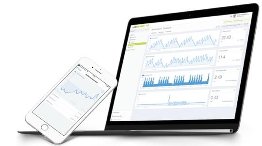 Notebook und Smartphone zeigen LineMetrics Messwerte an