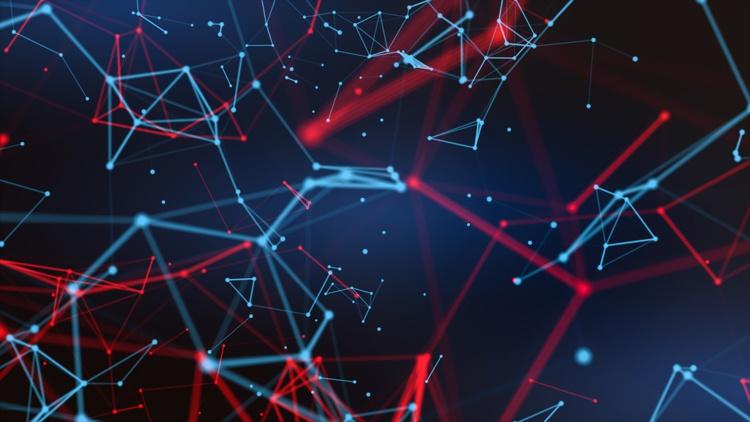 abstrakte Grafik: durch Linien verbundene Punkte
