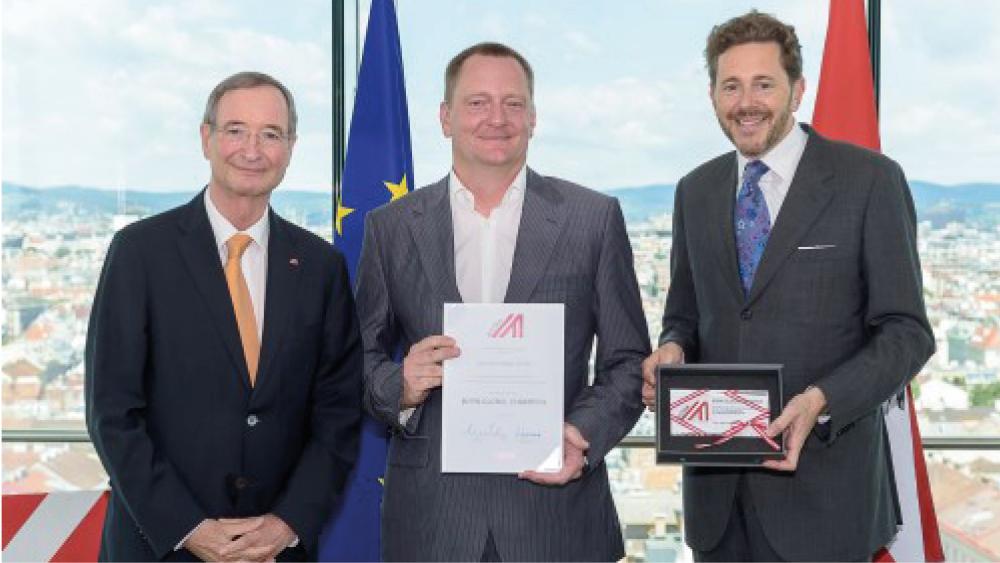 Christoph Leitl, Thomas Ondrisek und WKÖ-Präsident Harald Mahrer